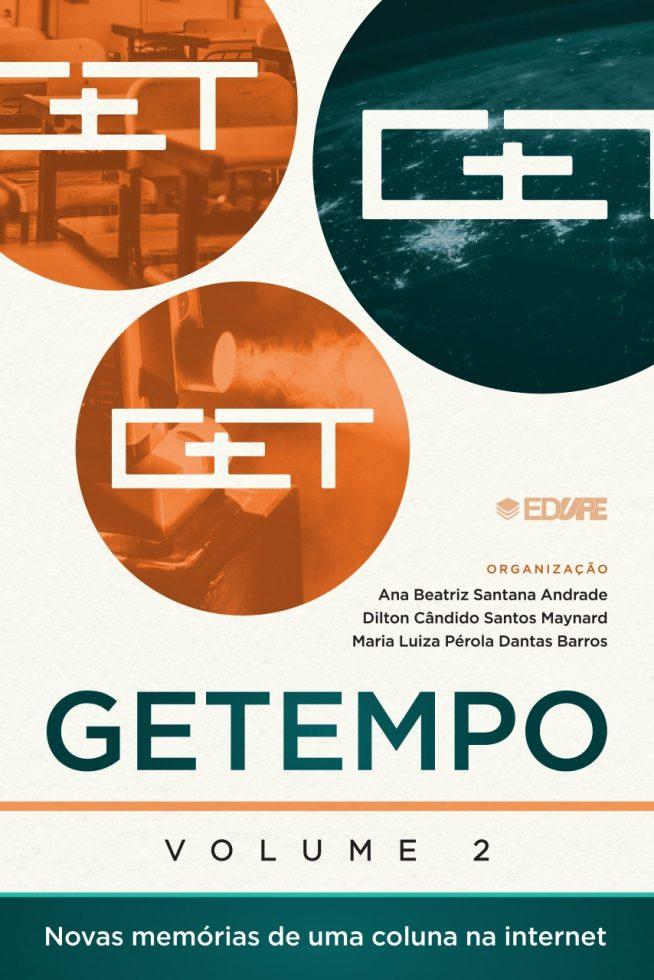 Capa do livro Getempo Volume 2. Nas cores laranja e verde, com o logo do grupo em branco sobre imagens circulares.